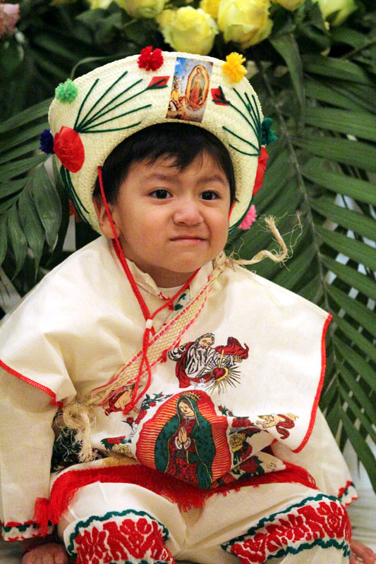 Three year old Saul Armando Galicia from Saint Thomas Aquinas Church is all dressed for the celebration of Las Mañanitas.
