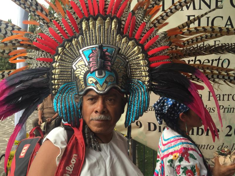 "Jose Alfredo Robles, a ""conchero"" dancer, attends the Dec. 9 feast day for St. Juan Diego at the Basilica of Our Lady of Guadalupe in Mexico City. The indigenous saint has not attracted a large devotion since being canonized in 2002. (CNS photo/David Agren)"