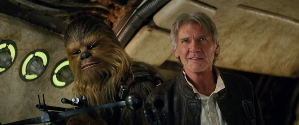 "Chewbacca, played by Peter Mayhew, and Harrison Ford star in a scene from the movie ""Star Wars: The Force Awakens."" (CNS photo/Disney)"