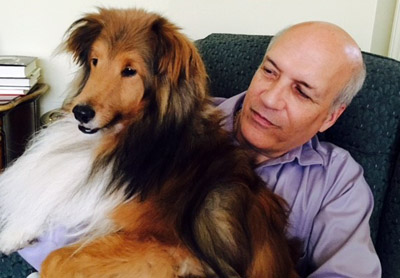 Steve Molden is glad his 4-year-old sheltie, Brodie, is safe again at home after becoming lost for days, then found at midnight Mass at St. Mark Church, Bristol, on Christmas Eve. (Photo by Barry Fisher)
