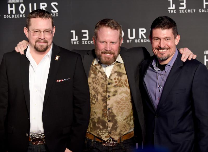 "John Tiegen, Mark Geist, and Kris Paronto attend the Dallas Premiere of the Paramount Pictures film ""13 Hours: The Secret Soldiers of Benghazi."" (CNS photo/Cooper Neill/Getty Images for Paramount Pictures)"