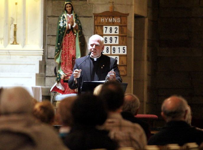 Father Christopher Rogers speaks during the ProLife Coalition of Chester County event.