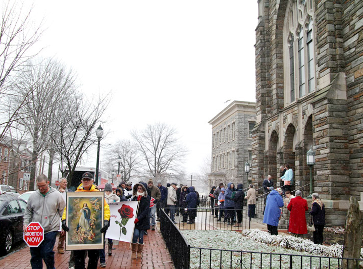 ProLife supports from Chester County depart from Saint Agnes Church in West Chester in silence as they march all God's children.
