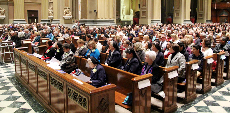 Religious educators representing only a fraction of the parish-based PREP programs in the Philadelphia Archdiocese still filled the cathedral on Sunday, Jan. 17 for a Mass recognizing the anniversaries of teaching service. (Photo by Sarah Webb)