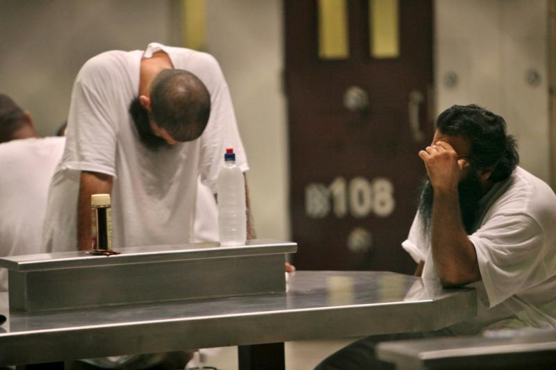 Detainees are seen inside the Camp 6 detention facility in 2009 at Guantanamo Bay U.S. Naval Base in Cuba. Ghana's bishops have criticized the government for accepting two former prisoners from Guantanamo Bay, describing the situation as wrong and dangerous. (CNS photo/Linsley, pool via Reuters)