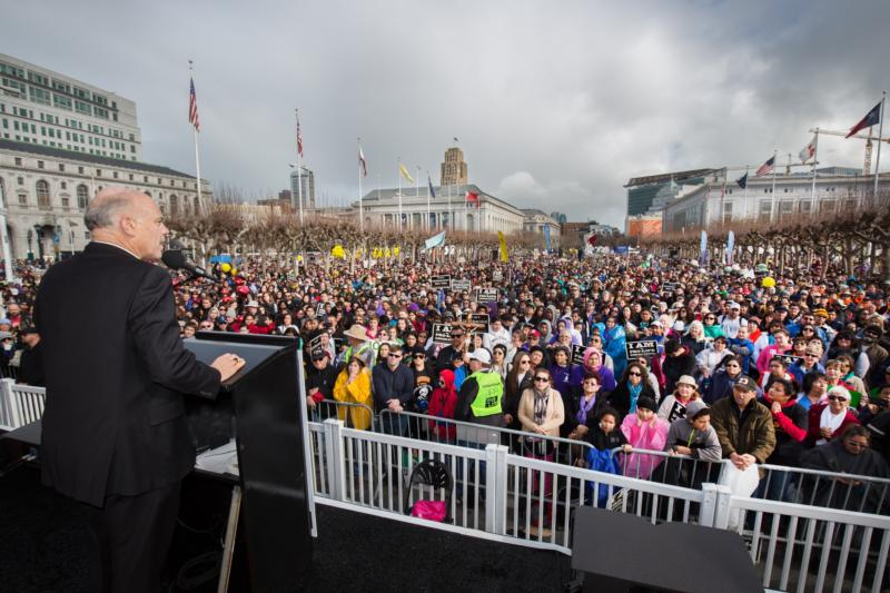 San Francisco Archbishop Salvatore J. Cordileone addresses the crowd during the Walk for Life West Coast in San Francisco Jan. 23. (CNS photo/Dennis Callahan, Catholic San Francisco)