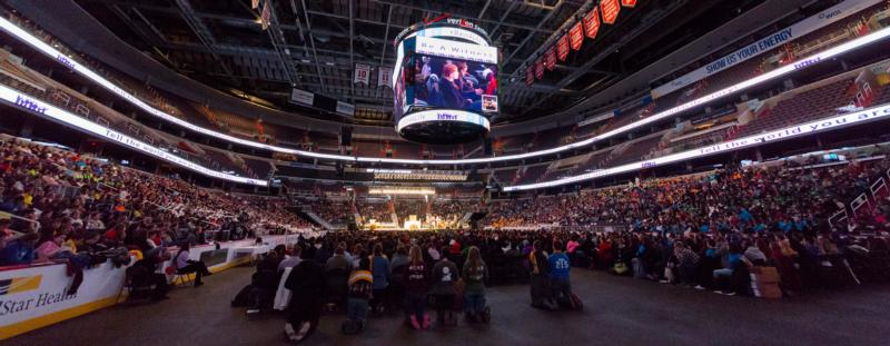 About 10,000 people attend a pro-life youth rally at the Verizon Center in Washington Jan. 22 before joining the annual March for Life. The events marked the 43rd anniversary of the U.S. Supreme Court's Roe v. Wade decision that legalized abortion. (CNS photo/Jaclyn Lippelmann, Catholic Standard)