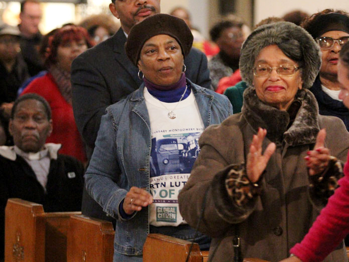 Bonnie Waites (center) from Shilo Baptist Church in Chester attended the service on MLK Day.