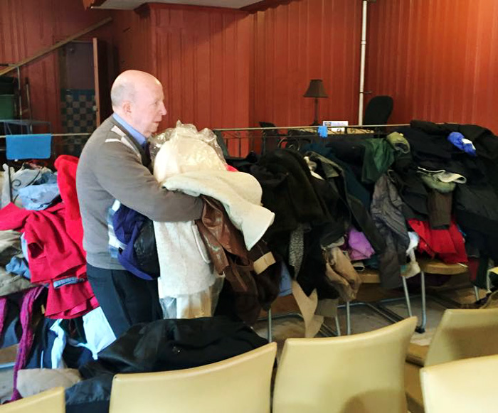 The old bar that was converted in to Mother of Mercy House was full with donated coats in the fall for those in need as the winter approached.