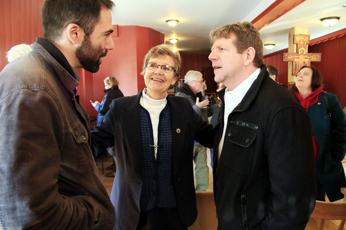 Sr Ann Ryamond Welte, IHM introduces Geoff Gusoff, a third year medical student at University of Pennsylvania, and Dr Francis McNesby, M.D., a doctor at Saint Christopher Hospital for Children.  Both men are volunteering at Mothe of Mercy House but this was their first time meeting.