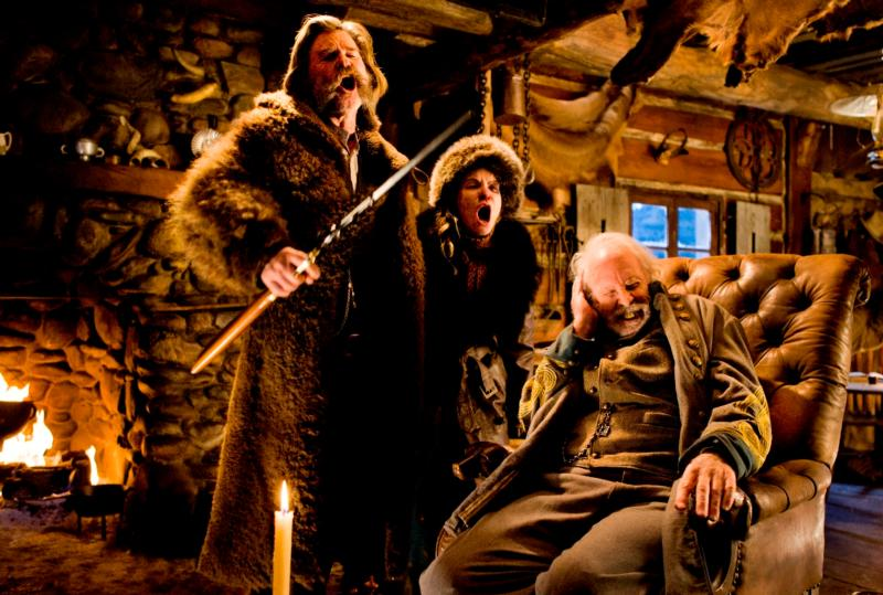 "Kurt Russell, Jennifer Jason Leigh and Bruce Dern star in a scene from the movie ""The Hateful Eight."" (CNS photo/Weinstein)"