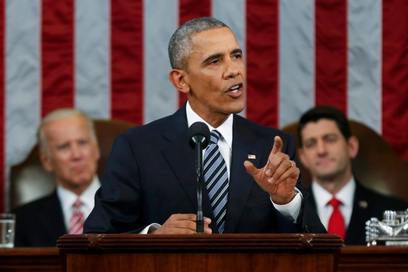 "U.S. President Barack Obama delivers his final State of the Union address to a joint session of Congress in Washington Jan. 12. ""His Holiness Pope Francis told this body from the very spot that I'm standing on tonight that to imitate the hatred and violence of tyrants and murderers is the best way to take their place,"" Obama said, adding that hateful rhetoric ""betrays who we are as country."" (CNS photo/Evan Vucci, Pool via Reuters)"