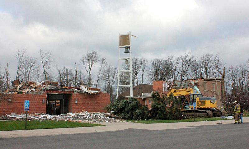 A bell tower stands amid debris Nov. 18, 2013, after a tornado destroyed St. Barbara Church and its rectory in Cloverdale, Ohio. (CNS photo/Angela Kessler, Catholic Chronicle)