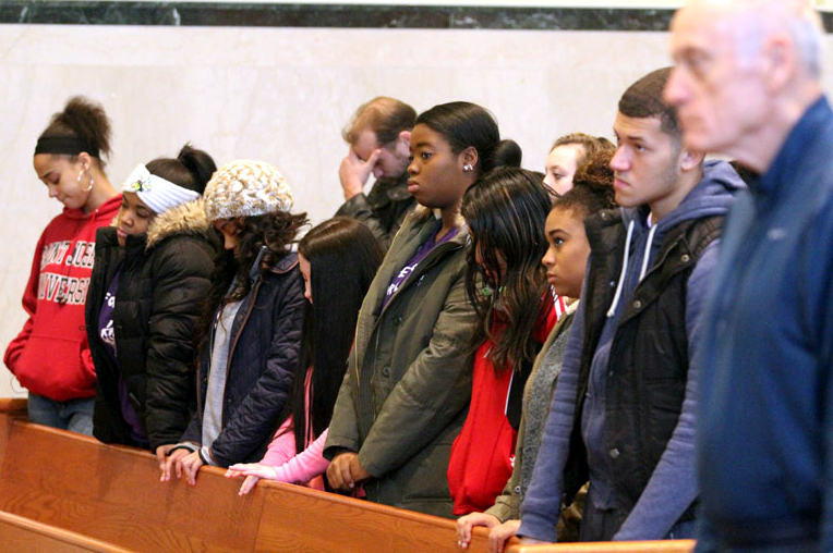 Students from Mercy Vocational High School filled two pews at Mass during the ProLife Summit.