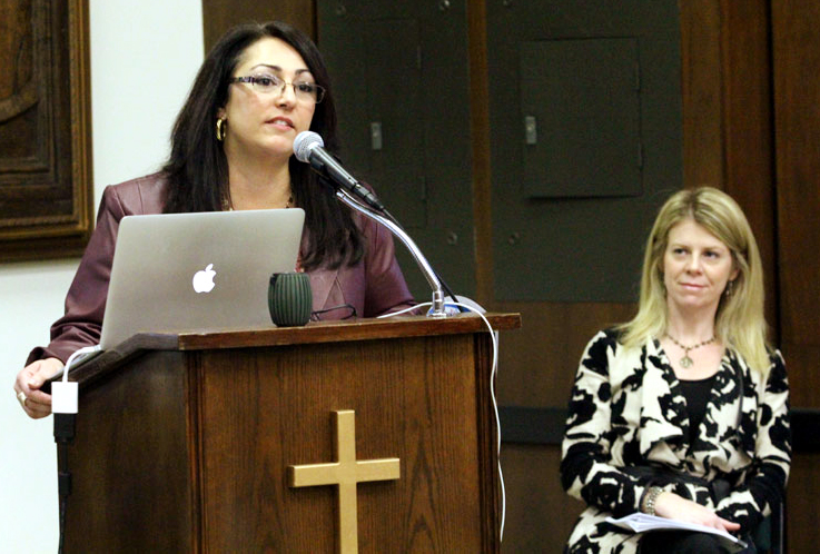 Maria Malone and Jenny Galiani, co-founders of Adoption is a Loving Option, speak on the process of adoption at the ProLife Summit in Philadelphia.