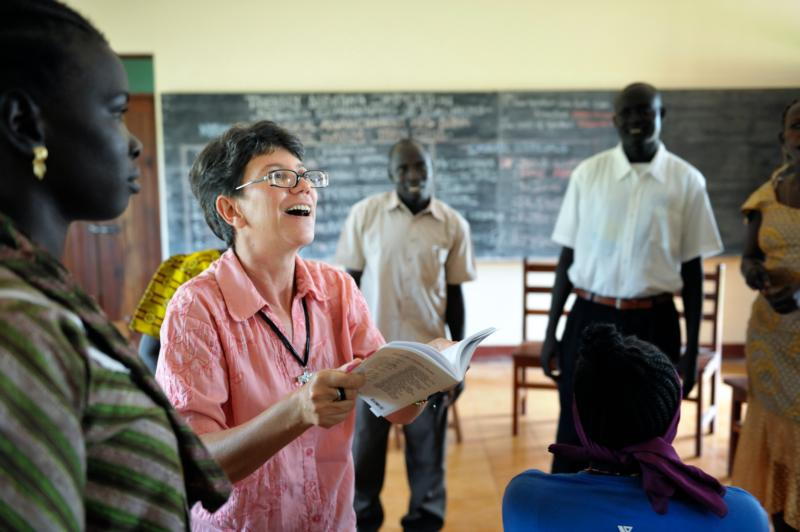 Sister Sandra Amado, a Comboni sister from Brazil, teaches a class in 2012 at a teacher training institute in Yambio, South Sudan. A late-December attack on religious sisters at the training institute in South Sudan has shaken and saddened the church, a church leader said. (CNS photo/Paul Jeffrey)
