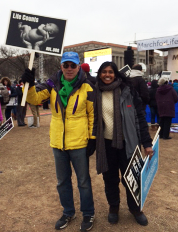 Patrick Stanton (left) and Monique Ruberu, co-chairs of Philadelphia's 40 Days for Life outreach, attend the rally and March for Life in Washington, D.C., Jan. 22.