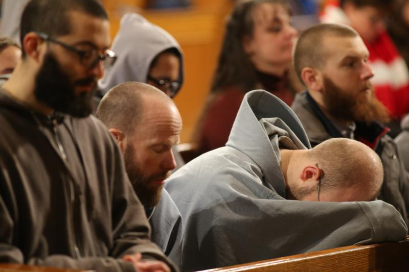 Monks pray during the closing Mass for the National Prayer Vigil for Life at the Basilica of the National Shrine of the Immaculate Conception in Washington Jan. 22. (CNS photo/Bob Roller)