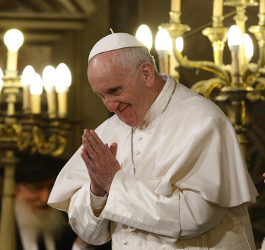Pope Francis gestures as he visits the main synagogue in Rome Jan. 17. (CNS photo/Paul Haring)