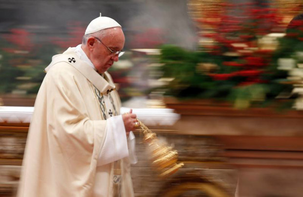 Pope Francis uses incense as he celebrates Mass marking the feast of the Epiphany in St. Peter's Basilica at the Vatican Jan. 6. (CNS photo/Paul Haring)