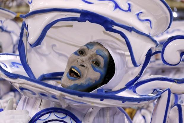 A reveler performs during the Carnival parade at the Sambadrome in Rio de Janeiro Feb. 8. (CNS photo/Sergio Moraes, Reuters)