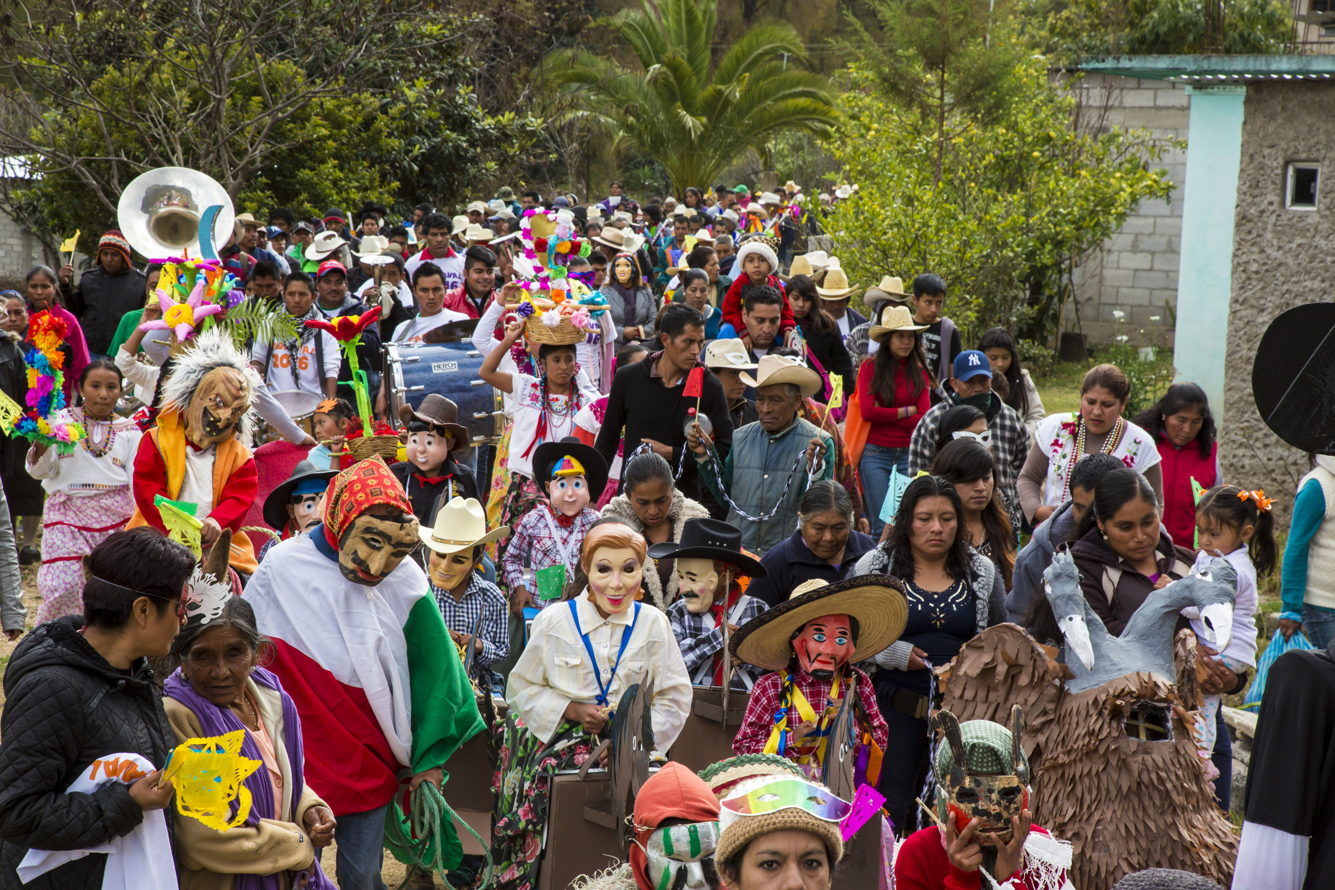 Residents of a small Mixtec mountain town participate in their annual pre-Lenten Carnival celebration Feb. 6 in Oaxaca, Mexico. (CNS photo/Jim West)