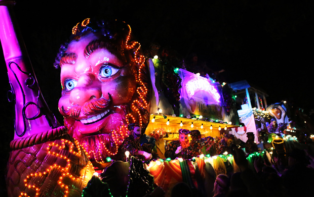 The Krewe of Bacchus rolls through New Orleans in a Mardi Gras parade Feb. 7. The parade took place in advance of Mardi Gras, or Fat Tuesday, which is a time of celebration the day before Ash Wednesday and the beginning of the church's Lenten period. (CNS photo/Dan Anderson, EPA)