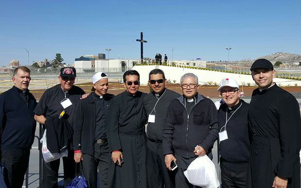 Father Robert Feeney, left, prepares to enter the site of a Mass with Pope Francis this month in Ciudad Juarez, Mexico, along with priests, deacons and seminarians of the Diocese of Las Vegas. One of those priests, Msgr. Gregory Gordon (second from right), is a friend of Father Feeney.