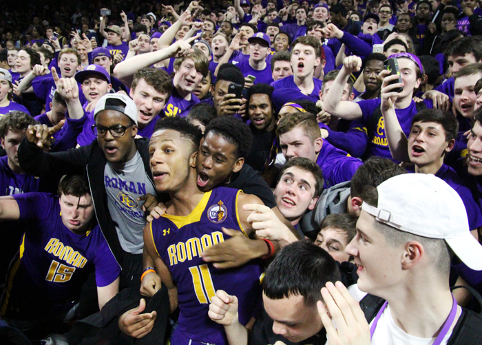 Immediately after wrapping up the win, senior Lamar Stevens ran into the Roman Catholic student section, which was the sixth man throughout the game, to celebrate.