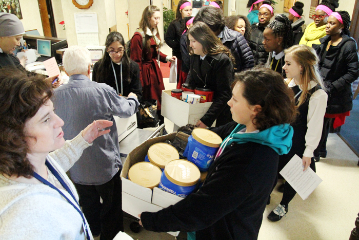 John W. Hallahan Catholic Girls' High School has been collecting coffee for Holy Family Home, a residential facility for elderly poor in the City of Philadelphia run by the Little Sisters of the Poor, for Catholic Schools Week.. On Tuesday,February 2nd a group of students delivered the coffee and spent time with the residents.