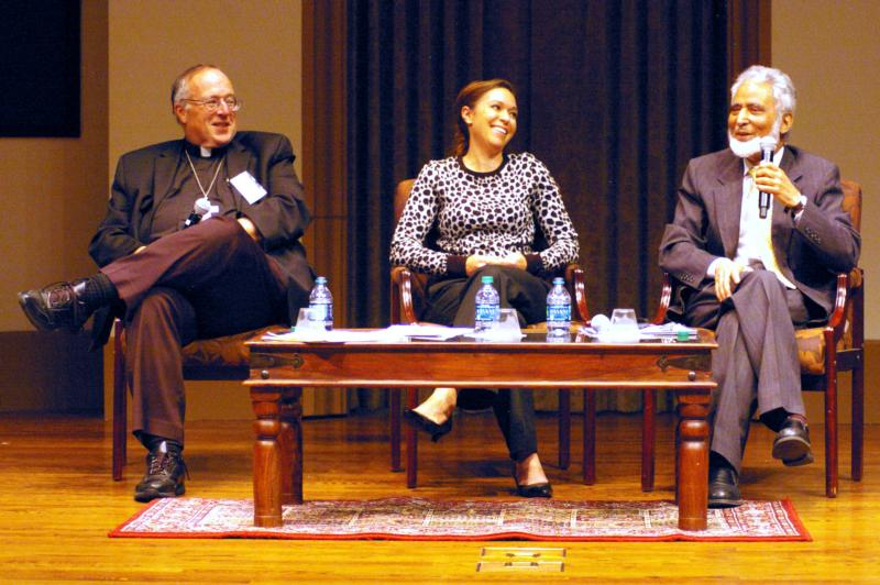 "Bishop Robert W. McElroy of San Diego and Muslim leader Sayyid M. Syeed discuss the ""ugly tide of anti-Islamic bigotry"" in keynote speeches at the University of San Diego Feb. 17. Facilitating the discussion was Ami Carpenter, center, who is an associate professor at the Catholic university's Joan B. Kroc School of Peace Studies. (CNS photo/Denis Grasska, The Southern Cross)"