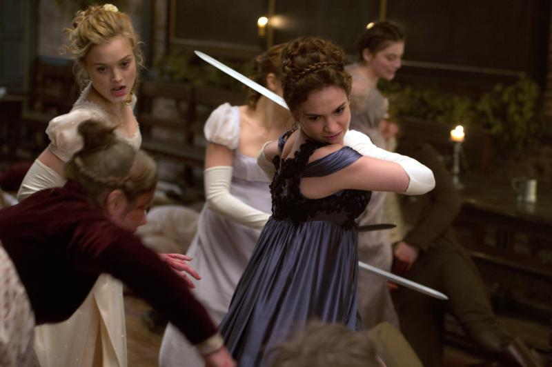 "Lily James and Bella Heathcote star in a scene from the movie ""Pride and Prejudice and Zombies."" (CNS photo/Screen Gems)"