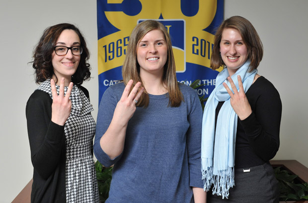 Neumann University graduate students (from left) Elizabeth Barr, Laura Strubeck and Stephanie Fortunato placed third in a national ethics competition sponsored by the American Counseling Association.