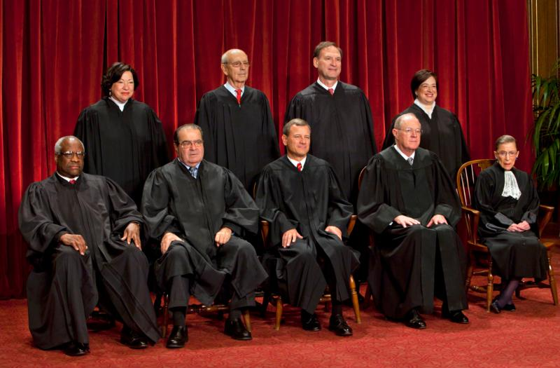 The U.S. Supreme Court justices gather for an official picture at the court in Washington in 2010. Seated in the front row are, left to right, Justice Clarence Thomas, Justice Antonin Scalia, Chief Justice of the United States John G. Roberts, Justice Anthony M. Kennedy, Justice Ruth Bader Ginsburg; back row, left to right, Justice Sonia Sotomayor, Justice Stephen Breyer, Justice Samuel Alito Jr. and Justice Elena Kagan. (CNS photo/Jim Lo Scalzo, Reuters)