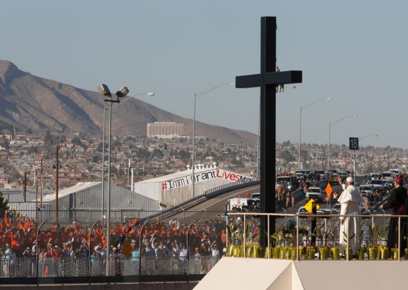 Pope Francis waves to people gathered in El Paso, Texas, after praying at a cross on the Mexican side of the border in Ciudad Juarez, Mexico, Feb. 17. (CNS photo/Paul Haring)