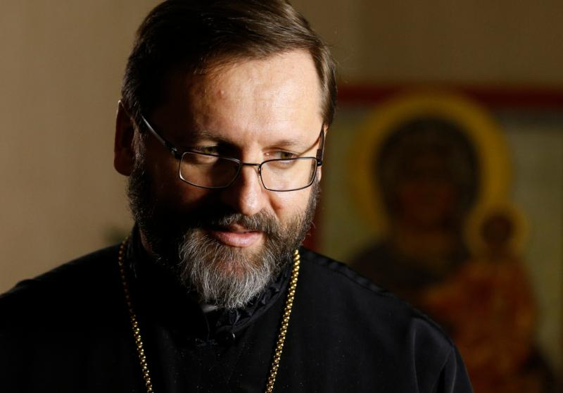 Archbishop Sviatoslav Shevchuk of Kiev-Halych, major archbishop of the Ukrainian Catholic Church, is pictured during an interview in Rome Feb. 23. (CNS photo/Paul Haring)
