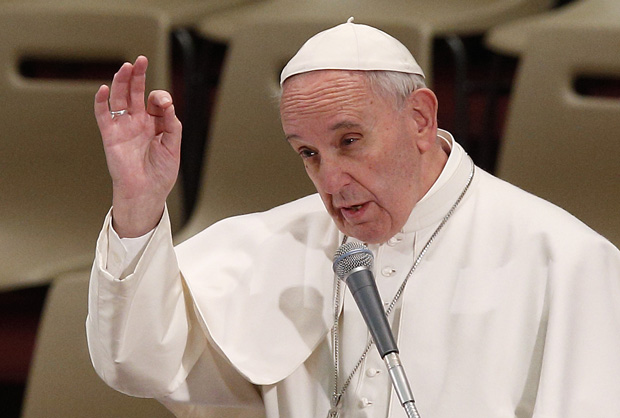 Pope Francis gestures as he speaks during an audience with religious at the Vatican Feb. 1. (CNS photo/Paul Haring)