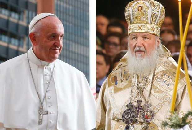 Pope Francis and Russian Orthodox Patriarch Kirill of Moscow will meet for the first time Feb. 12 in Cuba. (CNS photos compiled by Barbara Hagan, CatholicPhilly.com)