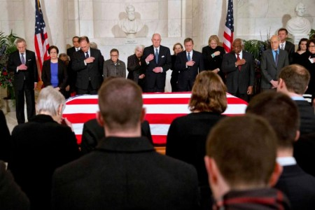 Supreme Court justices and family members listen to prayers near the casket of Justice Antonin Scalia at the Supreme Court in Washington Feb. 19. (CNS photo/Jacquelyn Martin, Reuters)