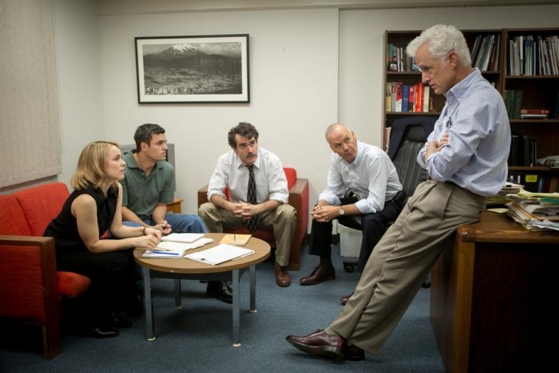 """Rachel McAdams, Mark Ruffalo, Brian d'Arcy James, Michael Keaton and John Slattery star in a scene from the movie """"Spotlight,"""" which chronicles the Boston Globe's uncovering of the clergy sex abuse scandal in the Archdiocese of Boston in 2002. (CNS photo/Open Road Films)"""