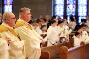 Father Dennis Webber and Father John Hand, sons of the parish