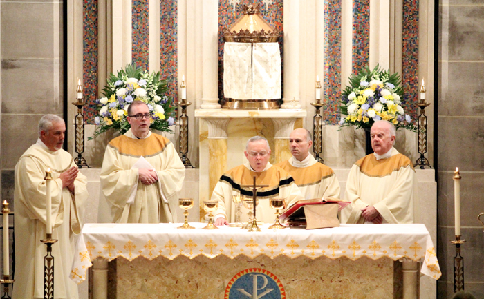 Deacon Patrick Kelly, Father Patrick Brady (weekend minister), Archbishop Charles Chaput, Father Thomas Sodano (pastor), Msgr. Charles McGroarty (son of the parish and resident)