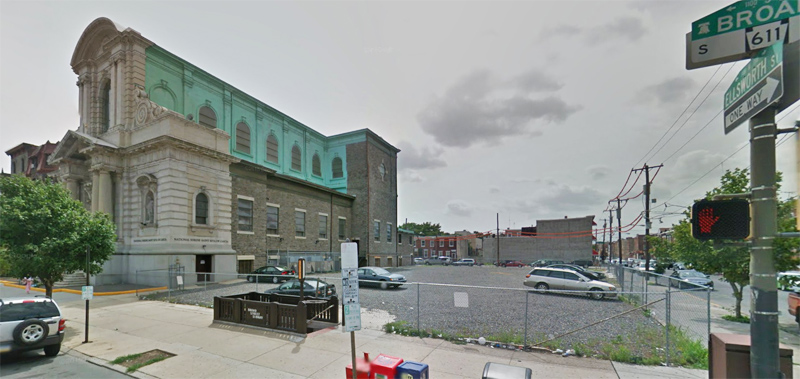 A Google map image shows the property at Broad and Ellsworth Streets in South Philadelphia intended to be developed for senior housing by archdiocesan Catholic Health Care Services and the National Shrine of St. Rita of Cascia.