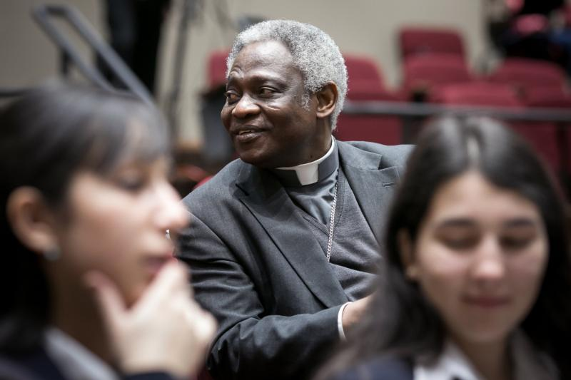 Ghanaian Cardinal Peter Turkson, president of the Pontifical Council for Justice and Peace, is seen on the campus of St. Thomas University in Miami Feb. 19 during a two-day international conference on climate change, nature and society. Cardinal Turkson delivered a keynote in which he discussed U.S. government policy on climate change and the position of the U.S. bishops on the issue. (CNS photo/Tom Tracy)