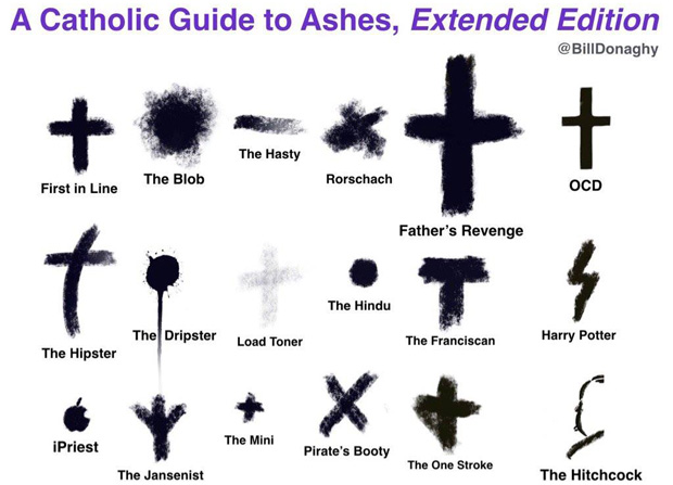 Local Catholic writer, speaker and professor, Bill Donaghy, has created a light look at the crosses Catholics wear on their heads as a sign of repentance on Ash Wednesday -- which style of ashes are you wearing today?