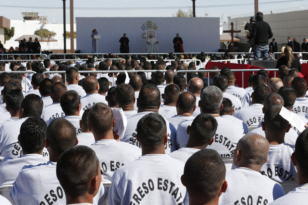 Prisoners attend a meeting with Pope Francis at Cereso prison in Ciudad Juarez, Mexico, Feb. 17. (CNS photo/Paul Haring)