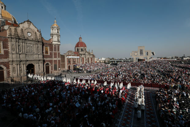 Bishops process from the historic Basilica of Our Lady of Guadalupe to the modern basilica for a Mass celebrated by Pope Francis in Mexico City Feb. 13. (CNS photo/Paul Haring)