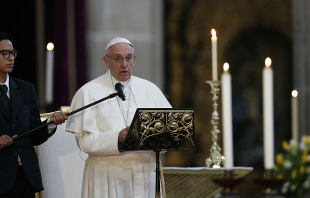 Pope Francis addresses Mexico's bishops in the cathedral in Mexico City Feb. 13. (CNS photo/Paul Haring)