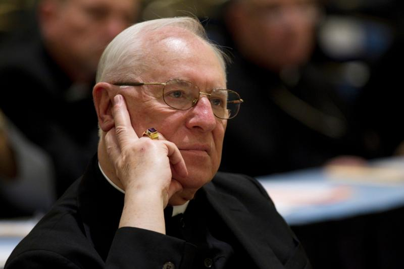 U.S. Bishop Joseph V. Adamec is pictured in 2010 during a U.S. bishops meeting in Baltimore. A grand jury report released March 1 by Pennsylvania Attorney General Kathleen G. Kane said  that now-retired Bishop Adamec and his predecessor, Bishop James J. Hogan, had covered up clerical sexual abuse in the Diocese of Altoona-Johnstown to protect the church's image. (CNS file photo/Nancy Wiechec)