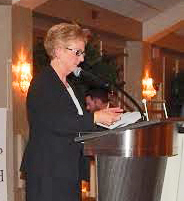 Bunny Dugan speaks after accepting the top award of the nonprofit Pennsylvanians for Human Life on Feb. 28.